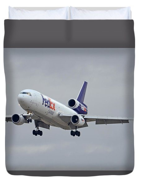 Fedex Express Mcdonnell Douglas Md-10-10f N359fe Phoenix Sky Harbor December 23 2015 Duvet Cover by Brian Lockett
