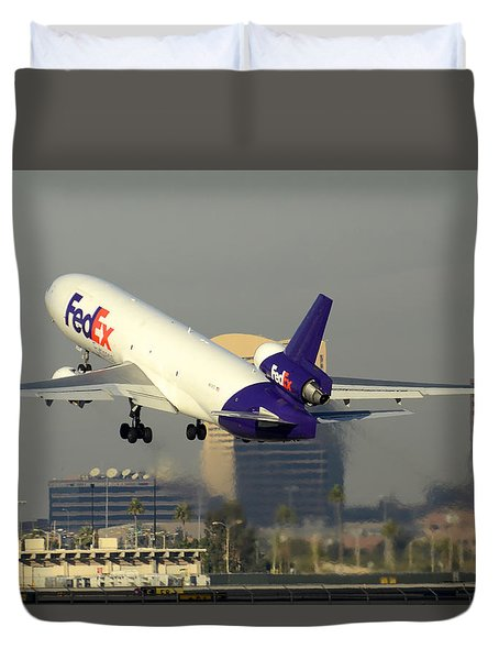 Fedex Express Mcdonnell-douglas Md-11f N631fe Phoenix Sky Harbor December 20 2015  Duvet Cover by Brian Lockett