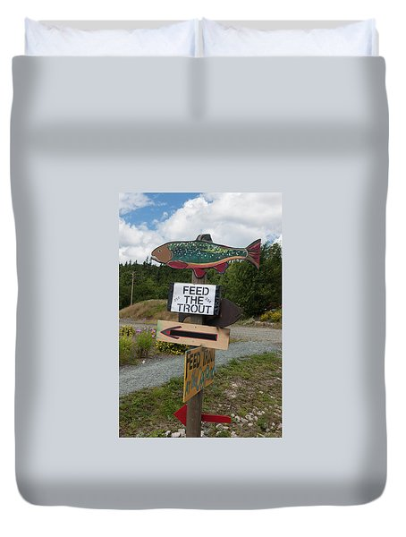 Feed The Trout Duvet Cover by Suzanne Gaff