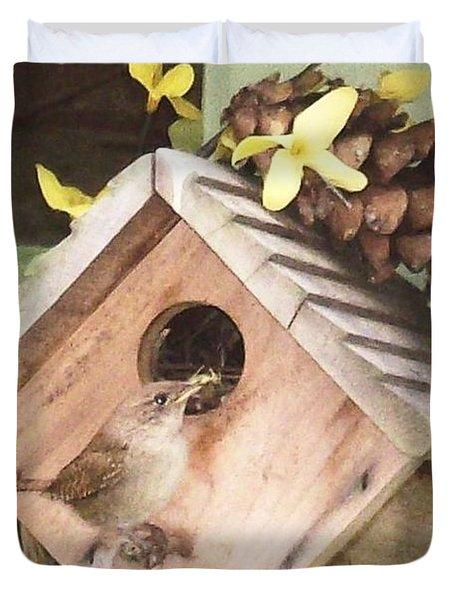 Duvet Cover featuring the digital art Feeding Birds by Barbara S Nickerson