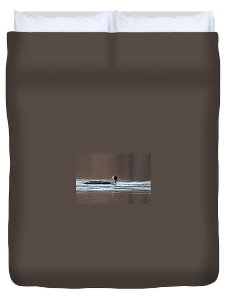 Feeding Common Loon Duvet Cover by Bill Wakeley
