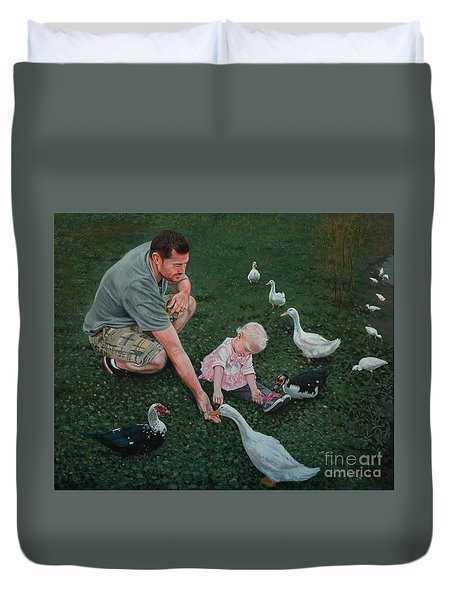 Feeding Ducks With Daddy Duvet Cover by Michael Nowak