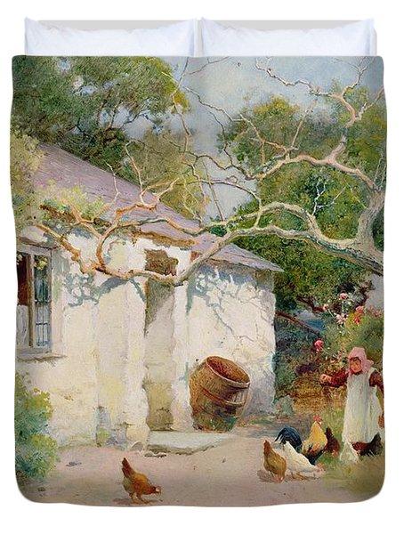 Feeding The Hens Duvet Cover
