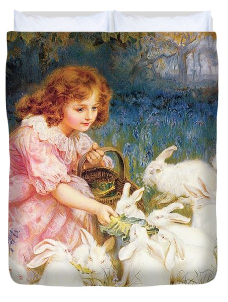 Feeding The Rabbits Duvet Cover by Frederick Morgan