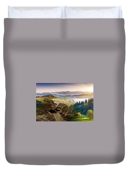 Feeding The Waterfall Montage Duvet Cover
