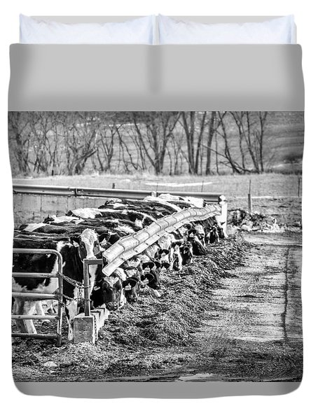Duvet Cover featuring the photograph Feedlot by Dan Traun