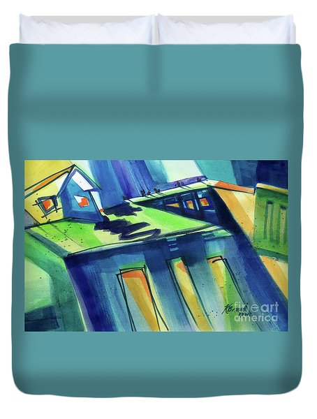 Duvet Cover featuring the painting Feedmill In Blue And Green by Kathy Braud