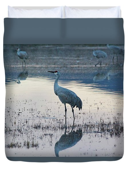 Duvet Cover featuring the pyrography Feeling Blue by Michael Lucarelli
