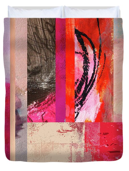 Feeling Pink Abstract Art Duvet Cover by Nancy Merkle
