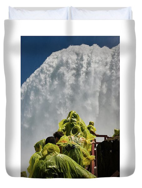 Duvet Cover featuring the photograph Feeling Small Below Below Brial Veil Falls by Jeff Folger