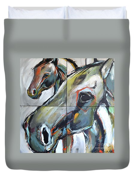 Duvet Cover featuring the painting Feeling Thunder by Cher Devereaux