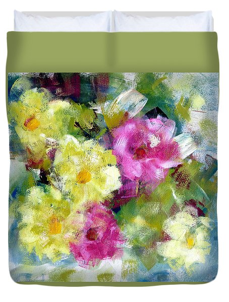 Duvet Cover featuring the painting Felicidades by Katie Black