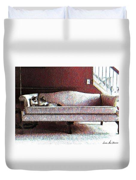 Felines Be Like... Duvet Cover by Iowan Stone-Flowers