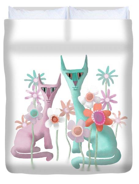 Felines In Flowers Duvet Cover