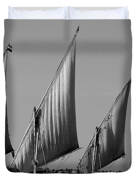 Feluccas On River Nile Duvet Cover