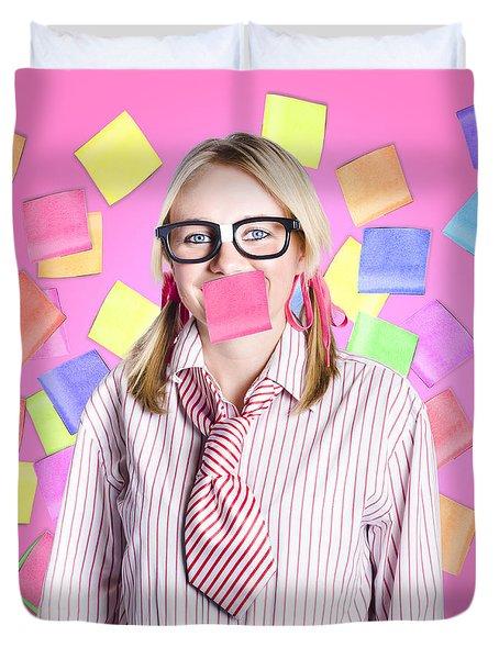 Female Admin Clerk Swamped With Multitasking Jobs  Duvet Cover