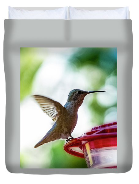 Duvet Cover featuring the photograph Female Anna's Hummingbird V24 by Mark Myhaver
