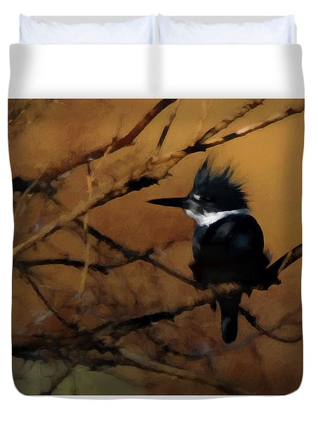 Duvet Cover featuring the digital art Female Belted Kingfisher 2 by Ernie Echols