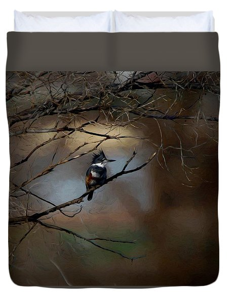 Duvet Cover featuring the digital art Female Belted Kingfisher 3 by Ernie Echols