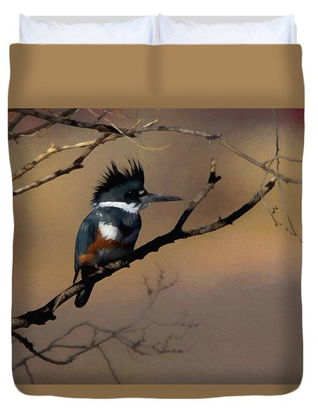 Duvet Cover featuring the digital art Female Belted Kingfisher by Ernie Echols
