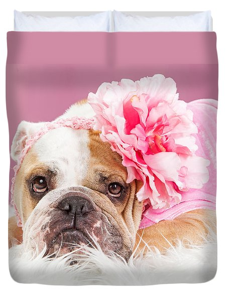 Female Bulldog Wearing Pink Outfit And Flower Duvet Cover