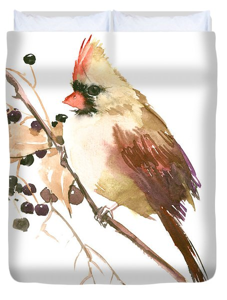 Female Cardinal Bird Duvet Cover