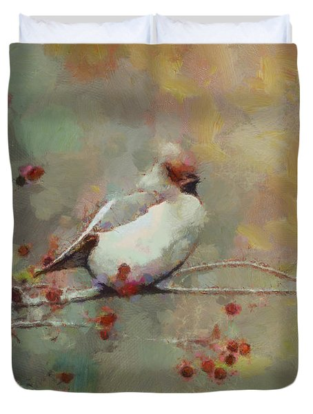 Duvet Cover featuring the painting Female Cardinal - Feathered Friends Collection  by Elizabeth Coats