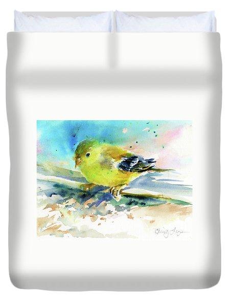 Female Goldfinch Duvet Cover by Christy Lemp