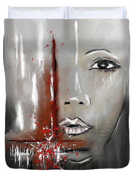Female Half Face On Grey Abstract Duvet Cover