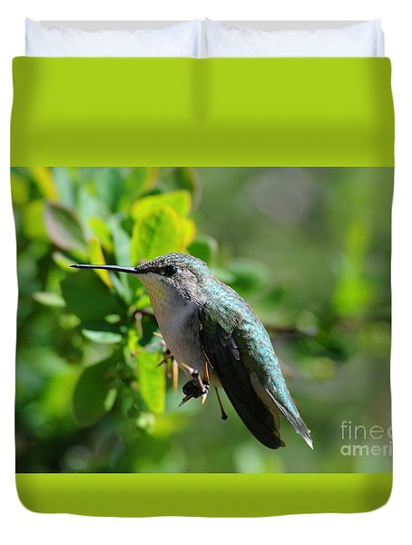 Duvet Cover featuring the photograph Female Hummer #2 by Sandra Updyke