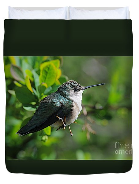 Duvet Cover featuring the photograph Female Hummer by Sandra Updyke