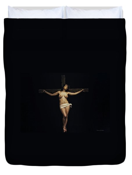 Female Jesus Duvet Cover