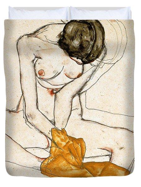 Female Nude Duvet Cover by Egon Schiele