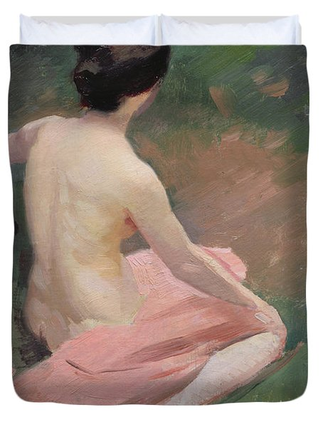 Female Nude Duvet Cover by Jules Ernest Renoux