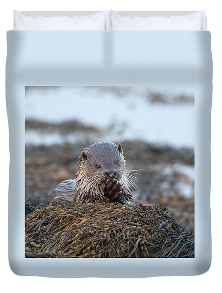 Female Otter Eating Duvet Cover