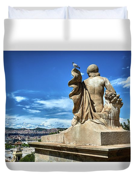 Duvet Cover featuring the photograph Female Sculpture At Montjuic by Eduardo Jose Accorinti