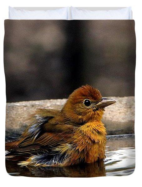 Female Summer Tanager In Bird Bath Duvet Cover