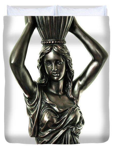 Female Water Goddess Bronze Statue 3288a Duvet Cover