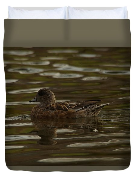Duvet Cover featuring the photograph Female Wigeon by Jeff Swan