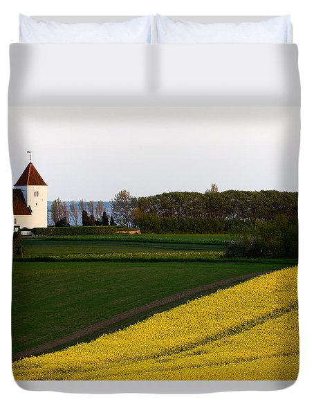 Femoe Fields And Church Duvet Cover by Eric Nielsen