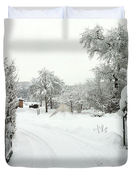 Fence And  Gate In Winter Duvet Cover
