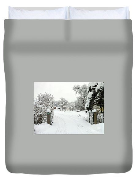 Duvet Cover featuring the photograph Fence And  Gate In Winter by Wilhelm Hufnagl