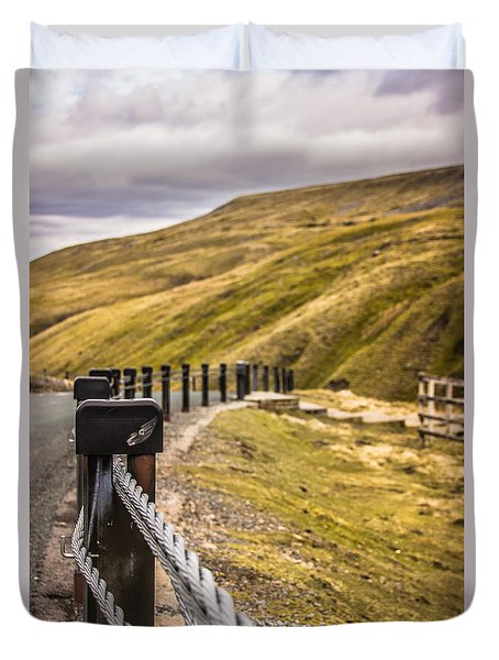 Fence By The Edge Duvet Cover by David Warrington