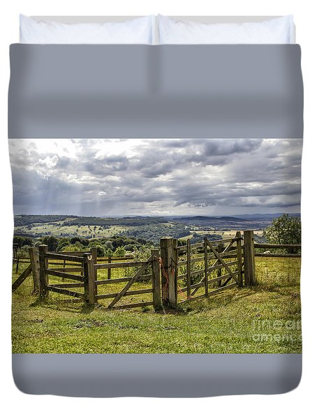 Fence In Beautiful Landscape Duvet Cover by Patricia Hofmeester