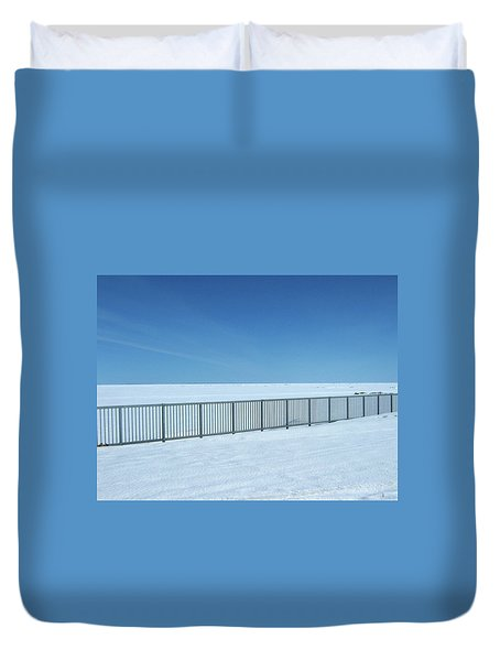 Fence In Snow Duvet Cover