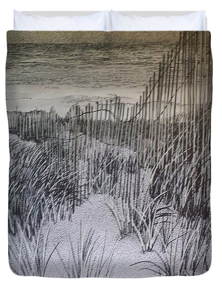 Fence In The Dunes Duvet Cover