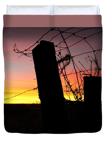 Fence Sunrise Duvet Cover