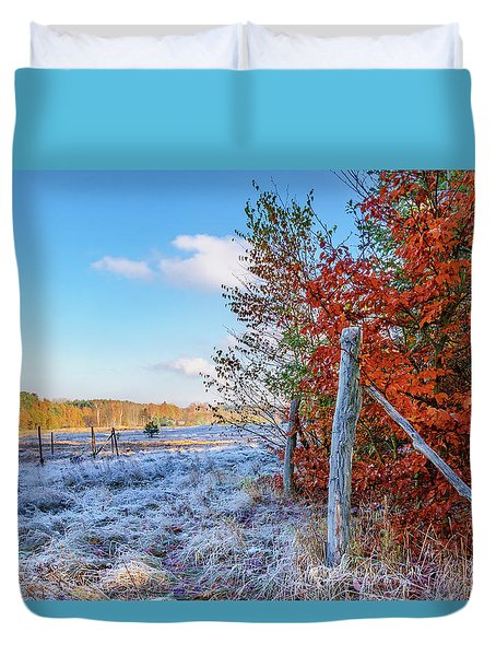Duvet Cover featuring the photograph Fenced Autumn by Dmytro Korol