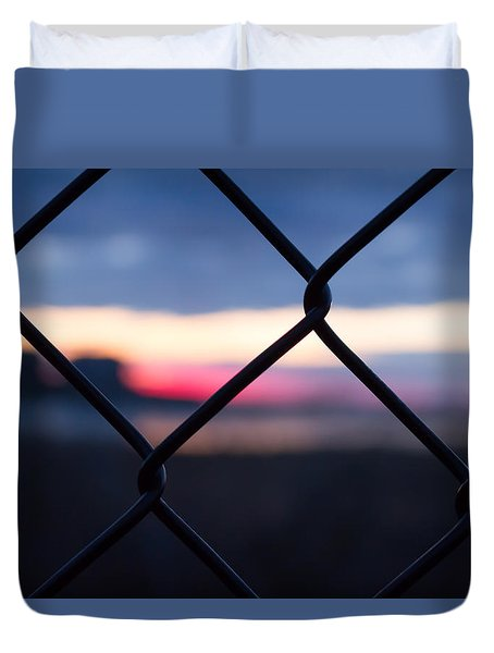 Fenced In Sunrise Duvet Cover