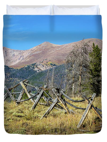 Duvet Cover featuring the photograph Fences Into The Rockies by Dawn Romine